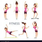 Cartoon sport young woman characters fitness girl vector 21042475