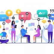 Communication people talking chatting global social network discussion vector characters concept scene illustration 137466902